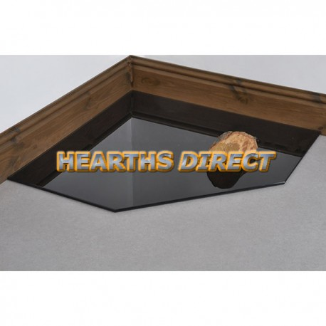 Clipped Corner Painted Square Glass Hearth
