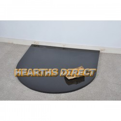 Medium Semi-Circle Polished Black Granite Hearth