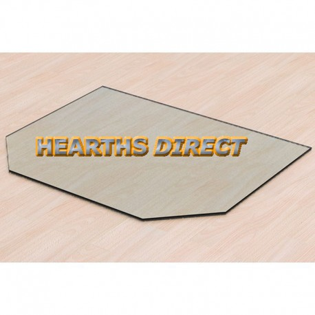 Double Clipped Corner Rectangle Glass Hearth